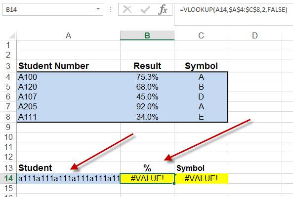vlookup #value error