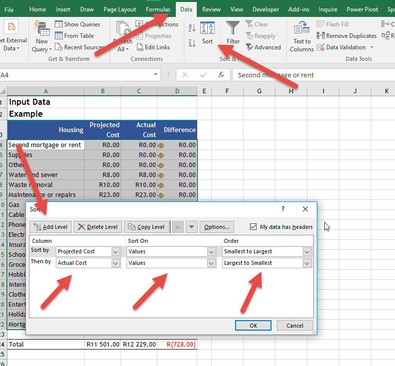 Data sorting • Online-Excel-Training.AuditExcel.co.za