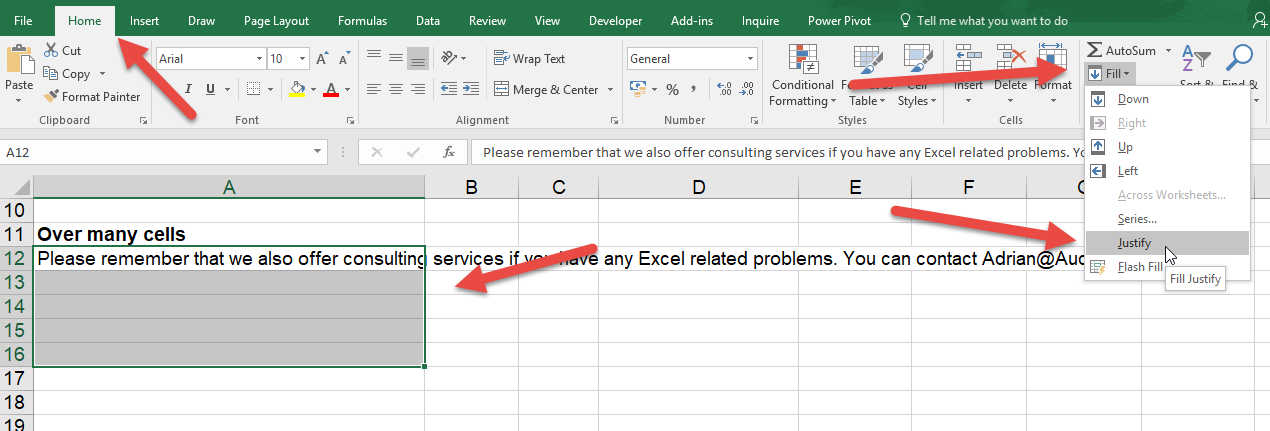Writing Paragraphs in Excel
