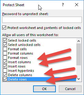 Lock Cells but allow insert or delete of columns/ rows