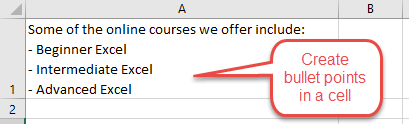 Create paragraphs within an Excel cell