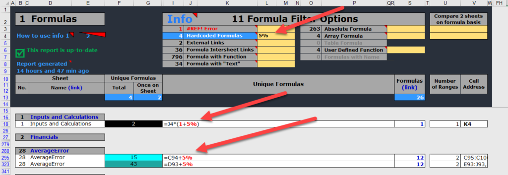 Find the formula with hardcoded numbers
