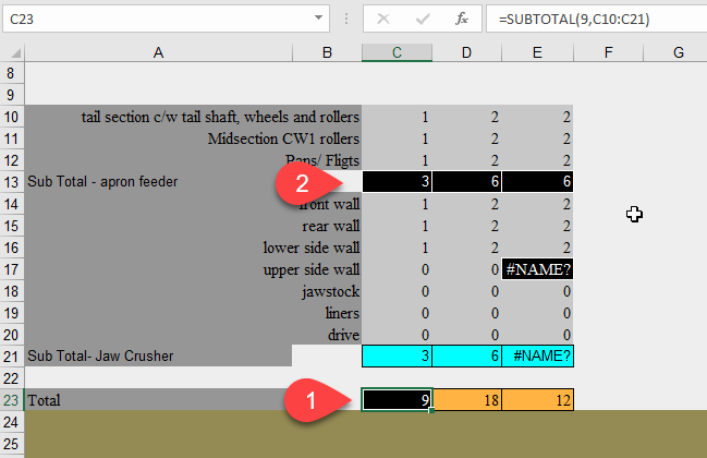 Finding the SUBTOTAL and AGGREGATE errors