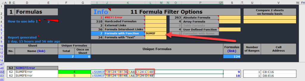 Financial model reviews SUMIFS COUNTIFS AVERAGEIFS