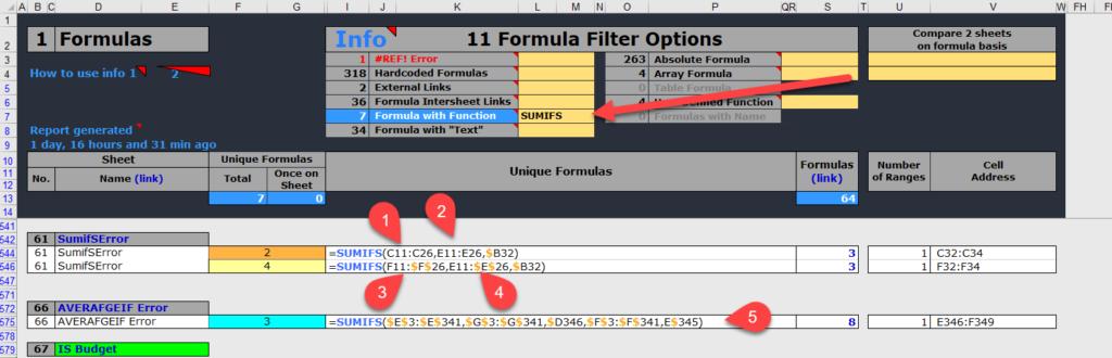 Finding the SUMIFS, COUNTIFS, AVERAGEIFS, MAXIFS, MINIFS errors